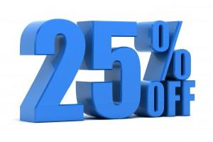 25 percent off